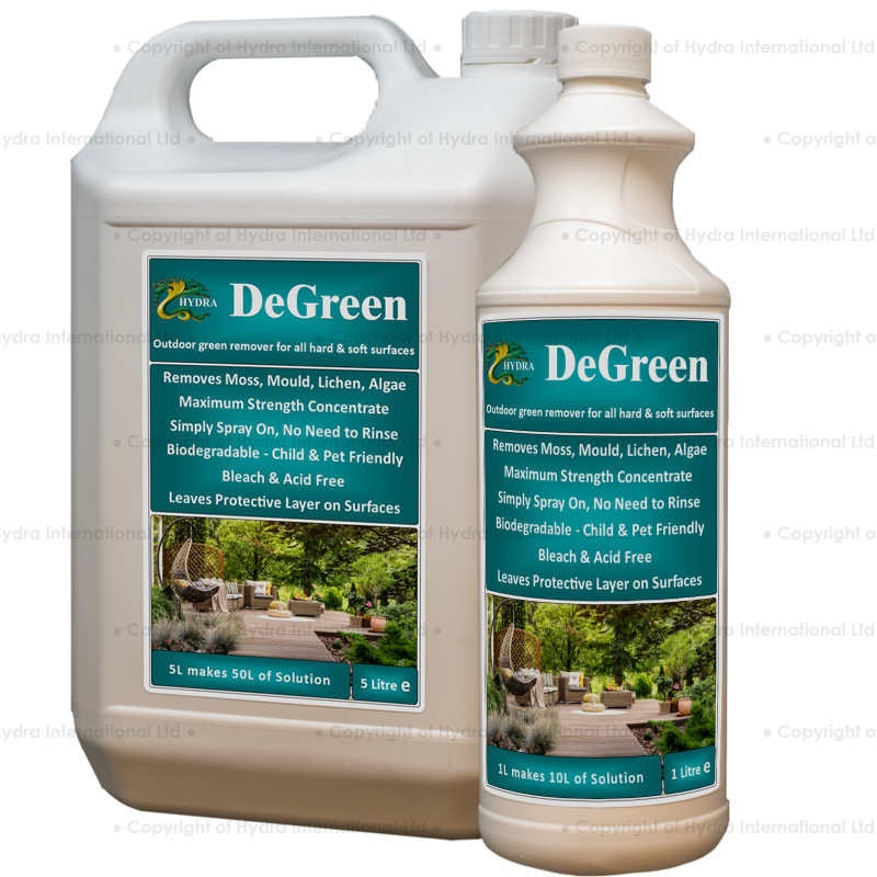 Hydra DeGreen - Remove Algae, moss, green fungus, lichen etc. from Hard & Soft surfaces